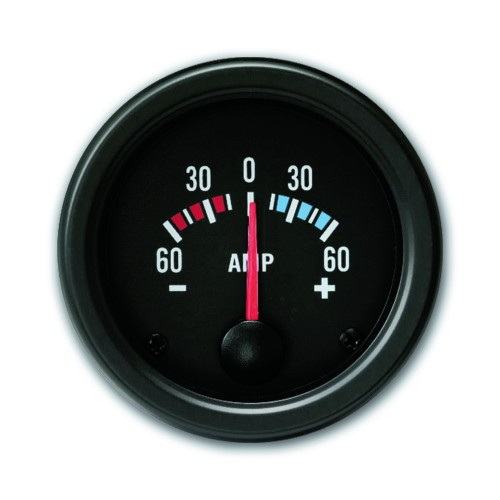 Gauge, amperemeter (60A), black, Ø52mm