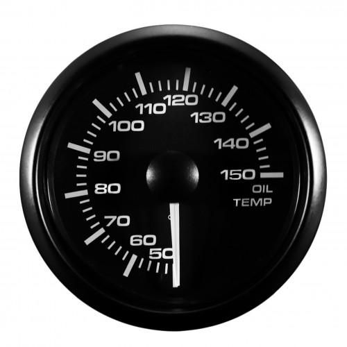 JOM jauge de température d'huile Manomètre Compteur avec sonde 50°~150°, Ø52mm LED réglable Blanche / Jaune vitre bombé - Qualité Allemande