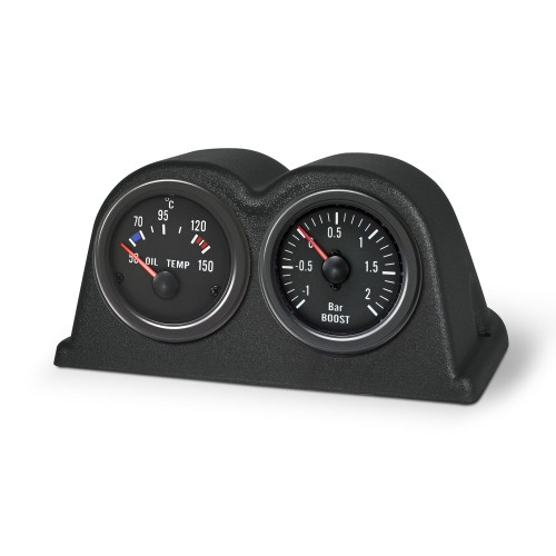 Gauge mounting pod, dash top, double, black