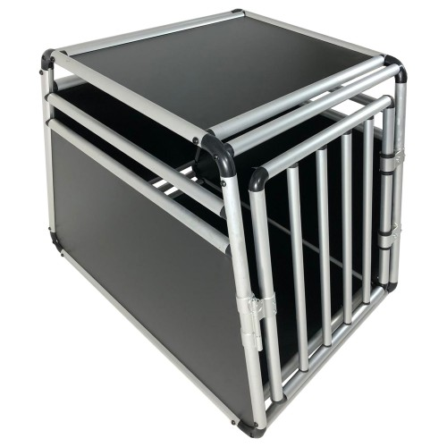 Dog box, Dog transport box, Pet carrier box Alloy Travel box Grid box Car, size 55 x 62 x 78 cm, floor slab 55 x 78 cm / top panel: 55 x 48 cm, material: Alloy/ MDF, color: black/silver, 1 door, type round struts, self-assembly kit