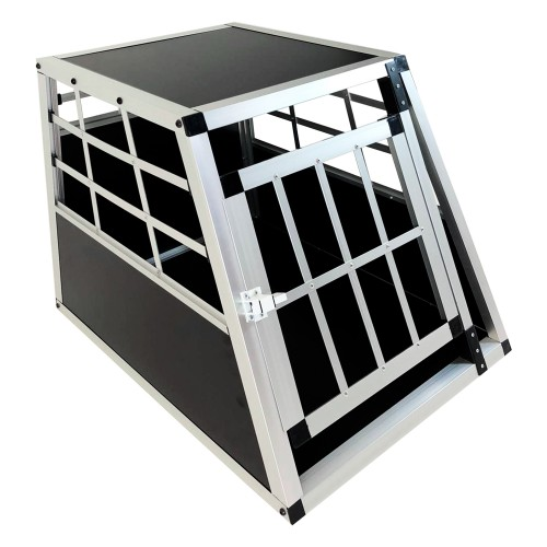 Dog box, Dog transport box, Pet carrier box Alubox Travel box Grid box Car, size 50 x 69 x 45 cm, floor slab 69 x 54 cm / top panel: 45,5 x 45 cm, material: Alloy/ MDF, color: black/silver, 1 door,  self-assembly kit