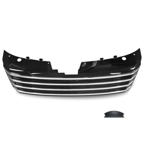 Kühlergrill ohne Emblem, hochglanz schwarz mit Chromleisten passend für VW Passat B7 (Typ 36) ab Baujahr 11/2010-
