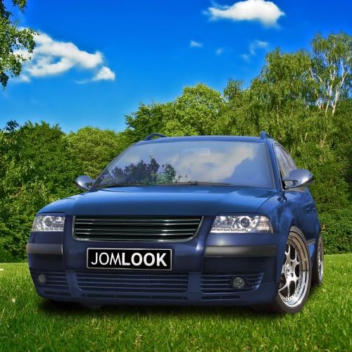 Kühlergrill ohne Emblem mit Doppelrippe und Chromleisten passend für VW Passat 3BG ab Baujahr 2000 -