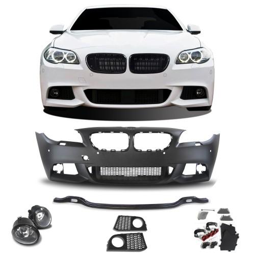 Frontstoßstange im Sport-Design mit PDC-Bohrungen, SRA und Nebelscheinwerfern passend für BMW 5er F10 Limousine Baujahr 01.2010-06.2015 und F11 Touring ab Baujahr 04.2010-