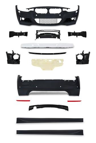 Stoßstangen Kit im Sport-Design inkl. Seitenschweller mit PDC-Bohrungen und SRA passend für BMW 3er F30 Limousine ab Baujahr 10.2011 -
