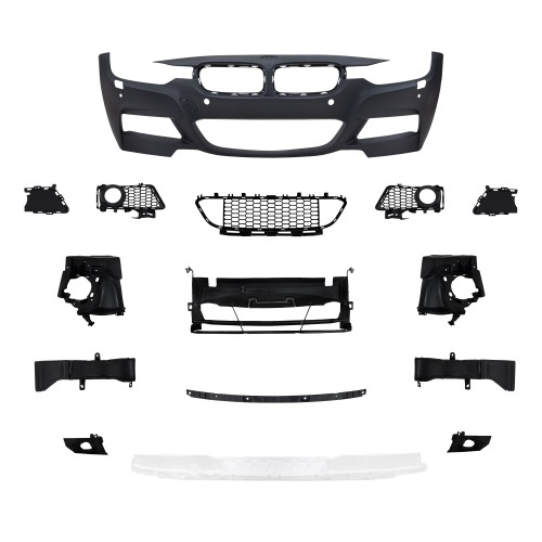 Front bumper in sports design with PDC holes and HCS suitable for BMW 3er F30 Limousine year 10.2011 -