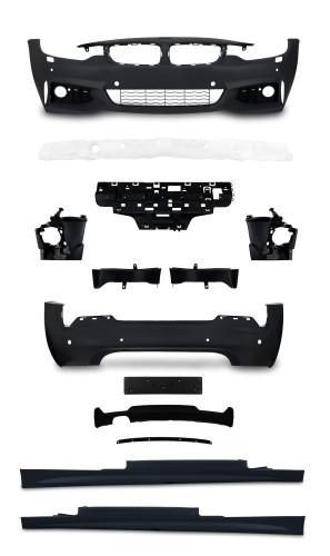 Stoßstangen Kit im Sport-Design inkl. Seitenschweller mit PDC-Bohrungen und SRA passend für BMW 4er F32 ab Baujahr 10.2013-