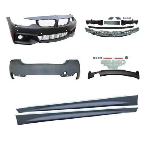 Stoßstangen Kit im Sport-Design inkl. Seitenschweller mit PDC-Bohrungen und SRA passend für BMW 4er F36 Grand Coupé ab Baujahr 2014-