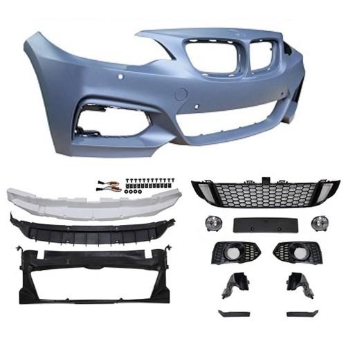 Frontstoßstange für BMW F22 F23 im Sport-Design mit PDC-Aussparung, ohne Aussparung für SRA inkl. Nebelscheinwerfern passend für BMW 2er F22 / F23, 2013-2017