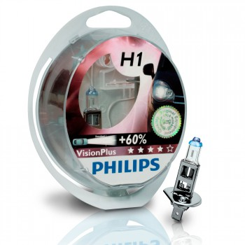 H1 12V 55W Philips Vision Plus +60, 2 Stück