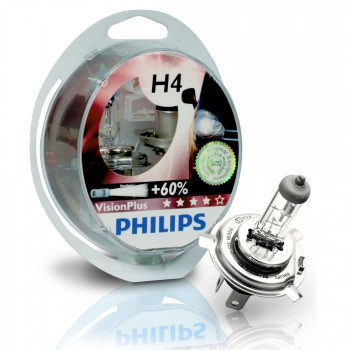 H4 12V 60/55W Philips Vision Plus +60, 2 Stück