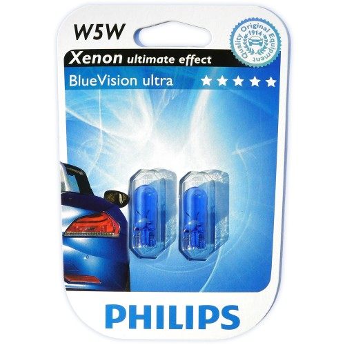 W5W 12V 5W Glühlampen Set, Blue Vision 3400°K, T10 , 2-er Packung mit 2 Leuchtmittel