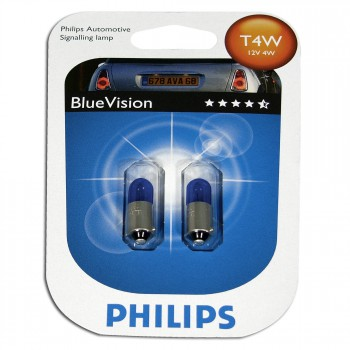 T4W 12V 4W Glühlampensatz (2 Stück), Blue Vision 3400°K, Sockel BA9s
