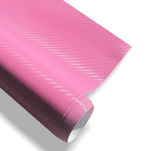 Carbonfolie Pink 152 x 200 cm, 3D Struktur, mit Luftkanälen, geeignet für Innen u. Außen, Selbstklebend, PVC