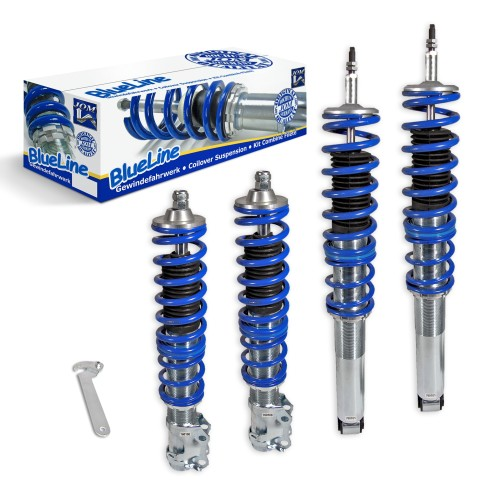 BlueLine Coilover Kit suitable for VW Golf 3, Vento year 10.91-9.97 (1HXO) and Golf 3 Cabrio (1EXO), except models with four-wheel drive or Variant models
