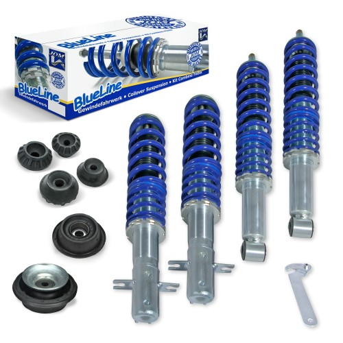 BlueLine Coilover Kit with Domcap Set suitable for VW Golf 2 and Jetta 2 year 08.1983-11.1991 (19E), except vehicles with four-wheel drive