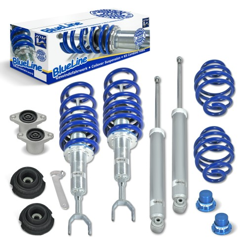 BlueLine Coilover Kit with Domcap Set suitable for VW Passat 3B and 3BG incl. Variant year 03.1997-2005, except vehicles with four-wheel drive