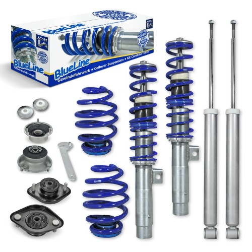 BlueLine Coilover Kit with Domcap Set suitable for BMW E46 4 and 6 cylinder, incl. Touring year 1998-2005