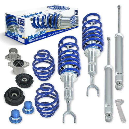 BlueLine Coilover Kit with Domcap Set suitable for Audi A6 (4B), incl. Avant year 04.1997-2004, except vehicles with four-wheel drive