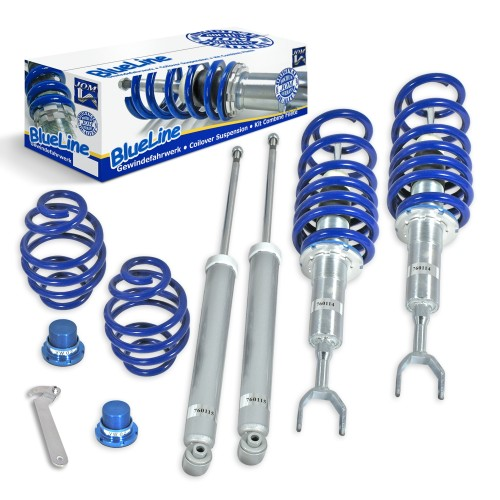BlueLine Coilover Kit suitable for Audi A6 (4B), incl. Avant year 04.1997-2004, except vehicles with four-wheel drive