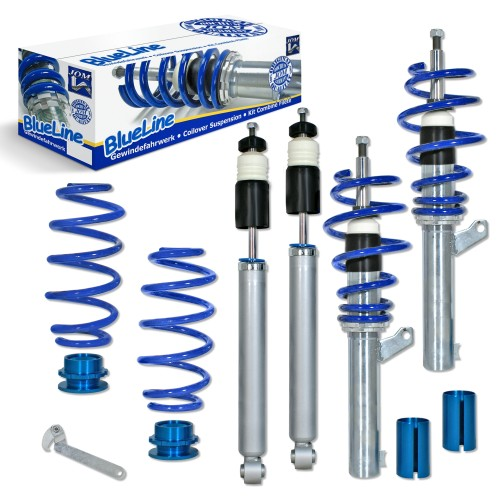 BlueLine Coilover Kit suitable for Audi A3 (8P) 1.4TFSi, 1.6, 1.8TFSi, 2.0, 2.0T / DSG and 1.9TDi, except vehicles with four-wheel drive