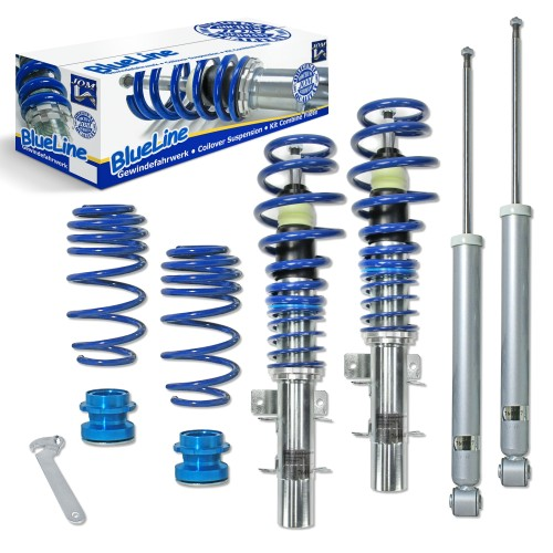 BlueLine Coilover Kit suitable for VW Polo 9N, 9N2, 9N3 and Fox 5Z 1.2, 1.4, 1.6, 1.8T, 1.4 TDi, 1.9SDi, 1.9TDi year 04.2002-2009