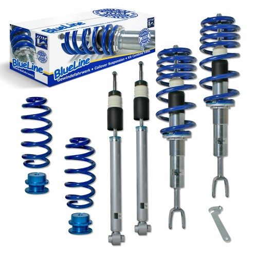 BlueLine Coilover Kit suitable for Audi A4 B6 and B7 (8e) Avant and Cabrio 1.6, 1.8T, 2.0, 2.0 FSI, 2.4, 3.0, 1.9TDI, 2.5TDI, except vehicles with four-wheel drive, height control or Sport-equipment