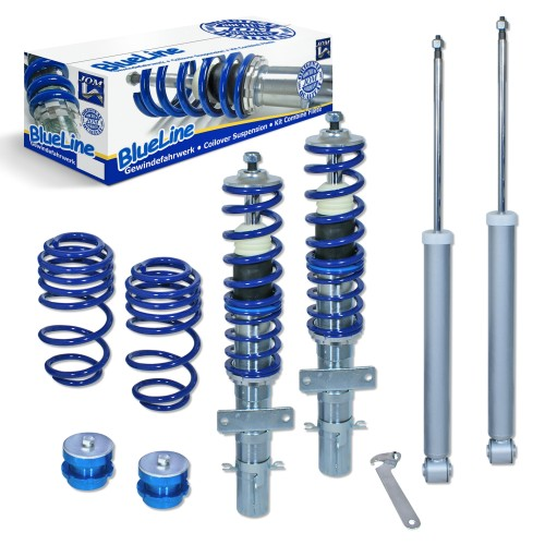 BlueLine Coilover Kit suitable for Seat Ibiza type 6J and 6P 1.2, 1.4, 1.6, 1.4 TDi, 1.6TDi, 1.9TDi year 2008 - 2017