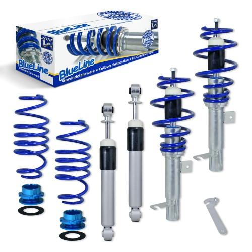 BlueLine Gewindefahrwerk passend für Ford Fiesta JH und JD 1.25, 1.3, 1.4, 1.6, 1.4TDCi, 1.6TDCi, Baujahr 11.2001 - 2008 und Ford Fiesta ST 2.0 Baujahr 11.2004 - 2008