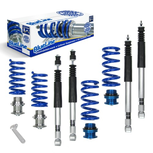 BlueLine Coilover Kit suitable for Mercedes C-Klasse (W202) all models incl. T-Models, year 1993-2000, CLK (W208) all models incl. Cabrio year 1997-2002, E-Klasse (W210) all models incl. T-Models year 1995 - 2002