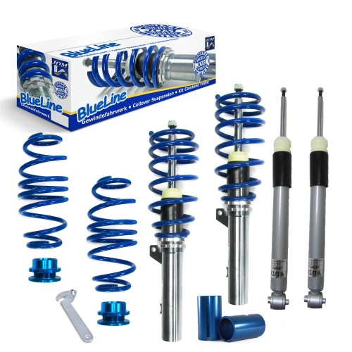 JOM BlueLine Gewindefahrwerk, Gewinde/ Feder passend für VW Golf 7 Limo/ Sportsvan (AU/AUV) 1.6 TDI/ 1.8 TSI/ 2.0 TDI/ Gti/ GTD, 2012-, (Achslast VA 1080 kg)