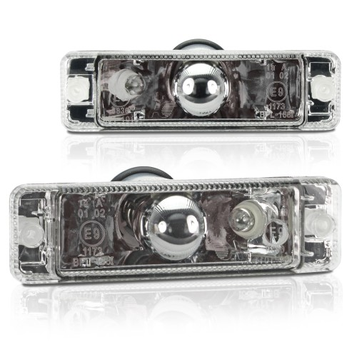 Front indicators built-in position light, clear/chrome suitable for VW Golf  year  -07.1989