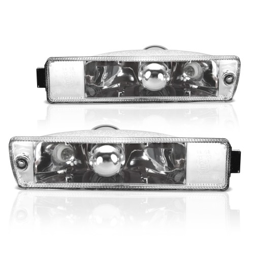 Front indicators, built-in position light, clear/chrome suitable for  VW Golf 2 (19E, 1G1) year 09.1989-12.1992