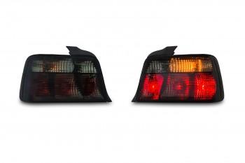 Rückleuchten, Klarglas, Chrystal Edge, Kristall / schwarz passend für BMW E36 Limousine Bj. 90-98