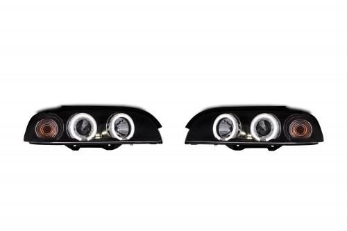 Scheinwerfer, AE-Design, Xenon-Optik-Linse, 2 Standlichtringe, inkl. Blinker, mit Motor für LWR, Klarglas / schwarz