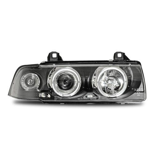 AE-Design Scheinwerfer mit Halogen Ringen und integriertem Blinker passend für BMW 3er E36 Coupe und Cabrio