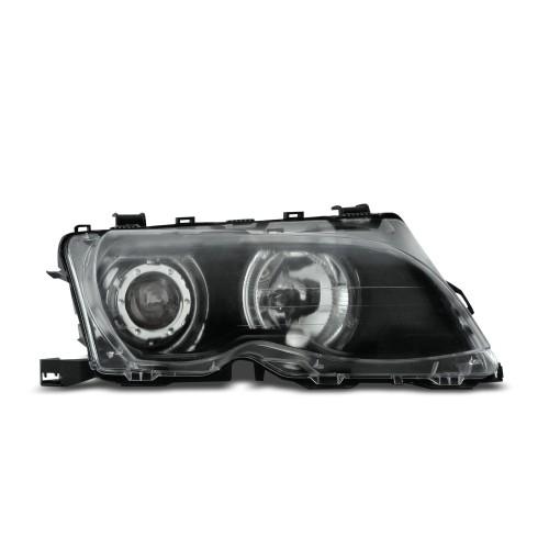 Scheinwerfer, AE-Design, Xenon-Optik-Linse, 2 Standlichtringe, ohne Blinker, mit Motor für LWR, Klarglas / schwarz