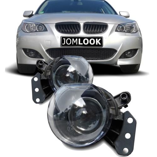 Nebelscheinwerfer,Nebelscheinwerfersatz , mit Linse, Klarglas / schwarz, passend für BMW E60 Bj. 03- BMW E90 E93 Cabrio