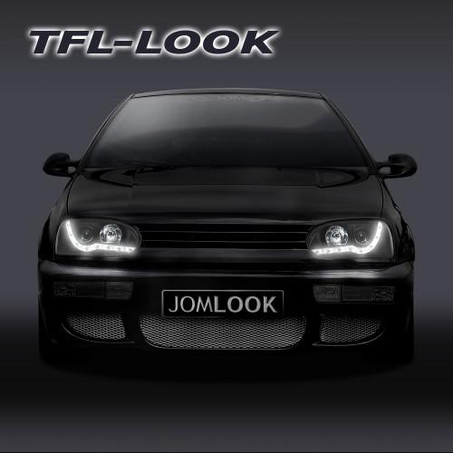 Scheinwerfer,Scheinwerfersatz,Golf 3, Tagfahrlicht Design, Klarglas/schwarz, Projekt., mit LWR passend für VW Golf 3 92-97