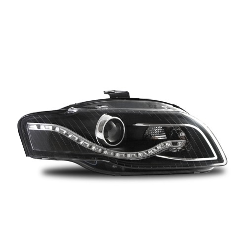 Scheinwerfer, Tagfahrlicht Design, Xenon-Optik-Linse, inkl. Blinker, mit LWR, Klarglas / schwarz passend für Audi A4 Bj. 04-08 + Cabrio 05-