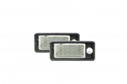 LED Kennzeichenbeleuchtung, 2 St., mit E-Prüfzeichen passend für Audi A3/S3 04-09, A3 Cabriolet 08-09, A4/S4 (B6/8E/8H) 01-05, A4/S4 (B7/8E/8H) 05-08, A6/C6 (4F) 05-09, S6 05-09, A8/S8 (D3/E4) 03-07, Q7 07-09, RS 4/Avant Quattro 06-08, RS 4 Cabriolet 06-0