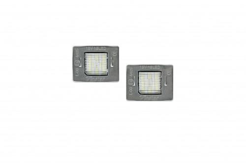 Éclairage de plaque d'immatriculation, 2 pièces, Mercedes-Benz W176 12- / W156 14- / R172 11- / X166 12- / W166 11- / Vito W447 14- / inkl. E-Zeichen