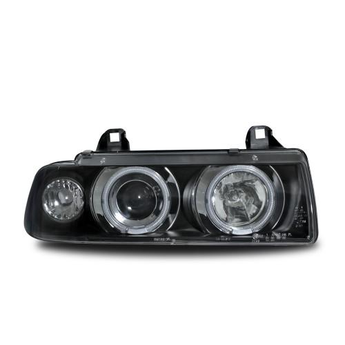 Scheinwerfer mit CCFL Standlichtringen, Xenon Optik Linse, inkl. Blinker, LWR, Klarglas / schwarz
