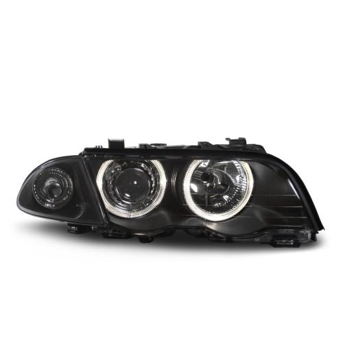 Scheinwerfer Satz  E46/4 98-00, Xenon-Optik-Linse, 2 Standlichtringe, inkl. Blinker, mit LWR, Klarglas/schwarz passend für BMW E46/4 98-00