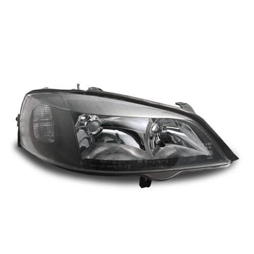 Scheinwerfer, integrierte Blinker und  LWR, Klarglas/schwarz passend für Opel Astra G, 98-04
