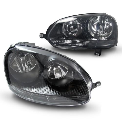 Scheinwerfer,Scheinwerfersatz,Golf 5 Klarglas/schwarz, inkl. Blinker, LWR mit Motor passend für VW Golf 5 03-08/ Jetta 05-