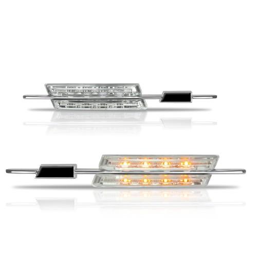 Seitenblinkleuchten in LED-Technik, 2/4 türer, Sport Look, weiss, mit Logo Aussparung passend für BMW E46 Bj. 98-01
