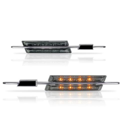 Seitenblinkleuchten in LED-Technik, 4 türer, Sport Look, schwarz, mit Logo Aussparung passend für BMW E46 Bj. 02-05