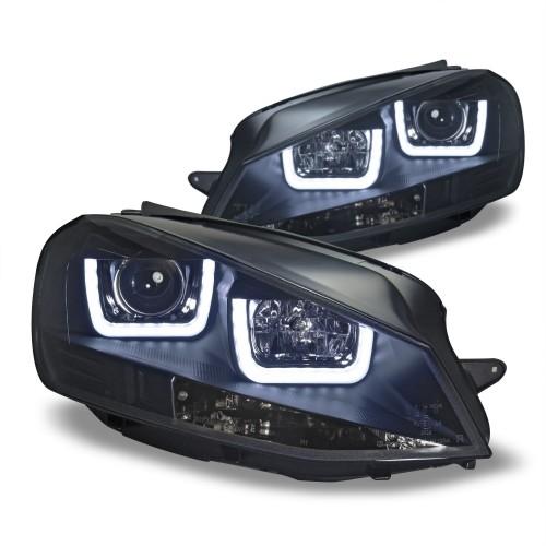 Scheinwerfer-Set, Klarglas/schwarz, Projektor Leuchte,  Lightbar, inkl. Motor passend für VW Golf 7 (AU) 08/2012- , nicht passend für GTI