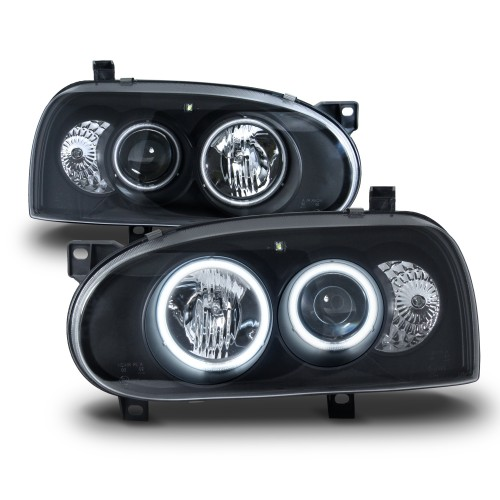 Scheinwerfer AE-Look, Projektorlinse, 2 CCFL Ringe, Standlicht und Zusatzbeleuchtung, mit LWR, Klarglas, Schwarz passend für VW Golf 3, 92-97